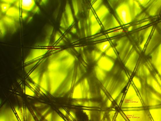 Структура высокотемпературного фильтра из стеклянных волокон, загрязненного атмосферной пылью